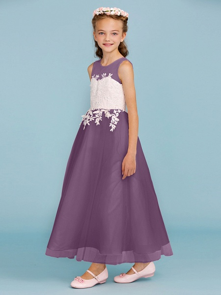 Princess / A-Line Jewel Neck Ankle Length Lace / Tulle Junior Bridesmaid Dress With Sash / Ribbon / Appliques / Wedding Party / Open Back_32