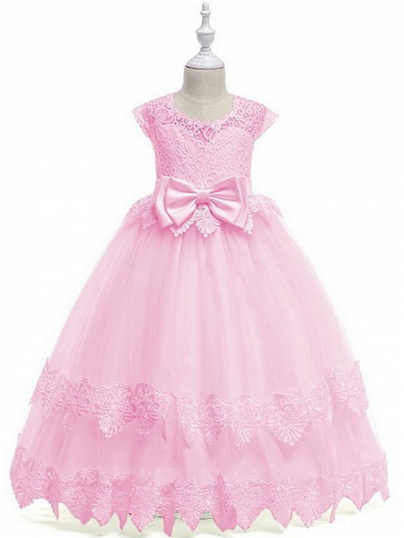 Princess / Ball Gown Ankle Length Wedding / Party Flower Girl Dresses - Tulle Cap Sleeve Jewel Neck With Bow(S) / Tier / Appliques_2