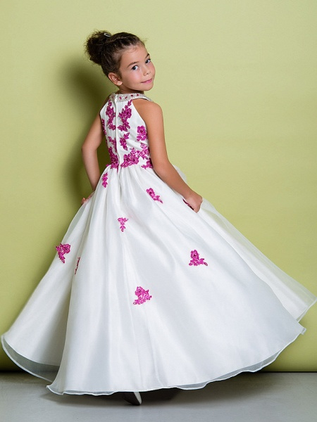 A-Line Floor Length Pageant Flower Girl Dresses - Organza Sleeveless Jewel Neck With Beading / Appliques_5