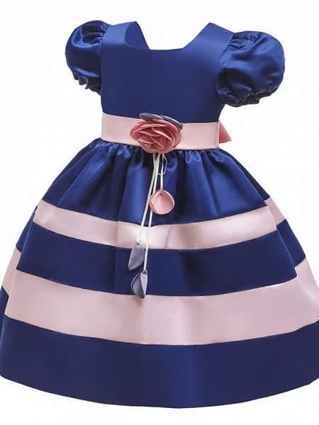 Ball Gown Knee Length Pageant Flower Girl Dresses - Polyester Short Sleeve Jewel Neck With Bow(S)_2