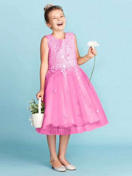 Princess / A-Line Jewel Neck Knee Length Lace / Tulle Junior Bridesmaid Dress With Bow(S) / Appliques / Wedding Party_27