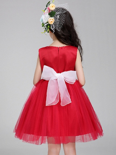 Princess Knee Length Pageant Flower Girl Dresses - Polyester Sleeveless Jewel Neck With Bandage / Color Block_3