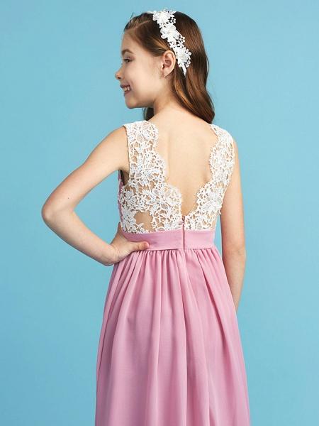 Princess / A-Line Queen Anne Floor Length Chiffon / Lace Junior Bridesmaid Dress With Lace / Sash / Ribbon / Pleats_7
