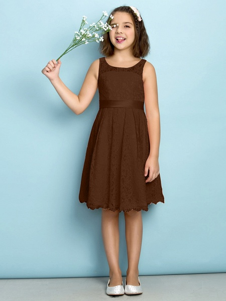 A-Line Scoop Neck Knee Length All Over Floral Lace Junior Bridesmaid Dress With Lace / Natural / Mini Me_22