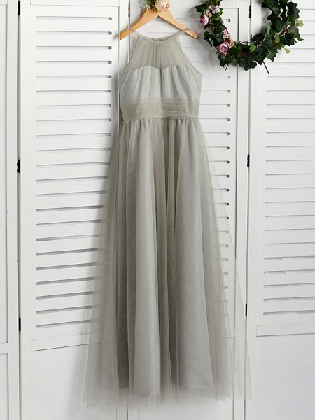 A-Line Crew Neck Floor Length Tulle Junior Bridesmaid Dress With Ruching_4