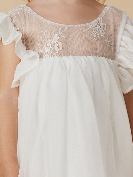 Sheath / Column Ankle Length Chiffon / Lace Short Sleeve Jewel Neck With Pleats_8