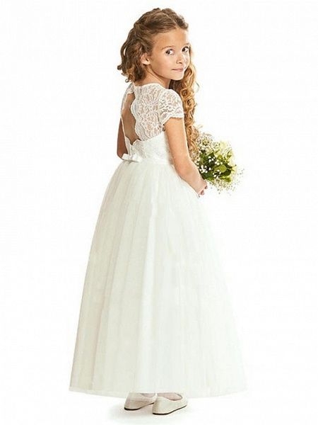 Sheath / Column Floor Length Wedding / Party Flower Girl Dresses - Lace / Tulle Cap Sleeve Jewel Neck With Tier_2