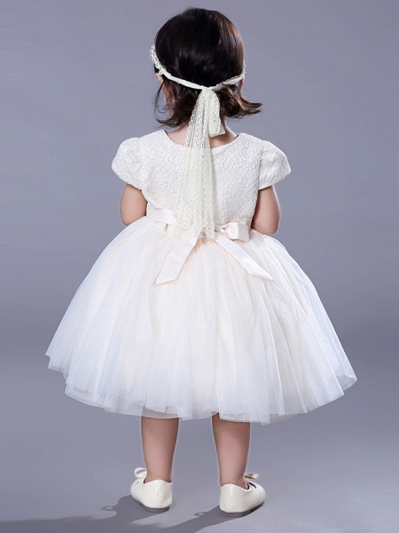 Ball Gown Royal Length Train / Medium Length Wedding / Event / Party Flower Girl Dresses - Lace Short Sleeve Jewel Neck With Belt / Beading / Flower_7