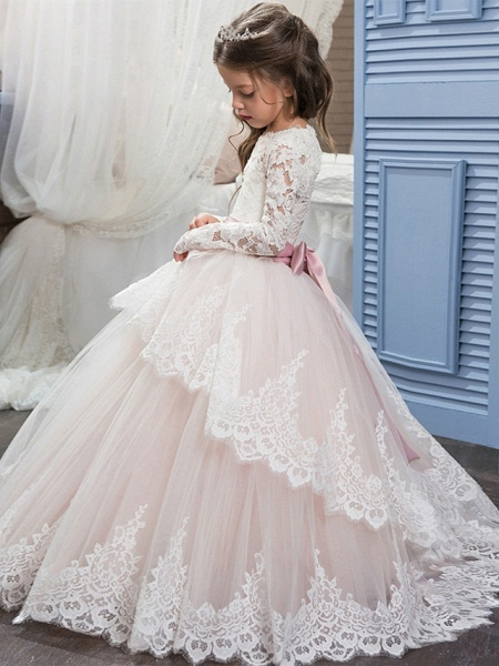 Ball Gown Sweep / Brush Train Wedding / Birthday / Pageant Flower Girl Dresses - Lace / Tulle / Cotton Long Sleeve Jewel Neck With Lace / Belt / Embroidery_3