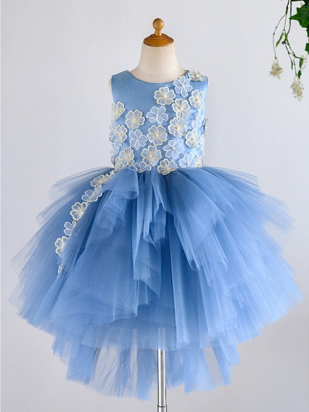 Ball Gown Asymmetrical Wedding / Birthday / Pageant Flower Girl Dresses - Satin / Tulle Sleeveless Jewel Neck With Petal / Pearls_1