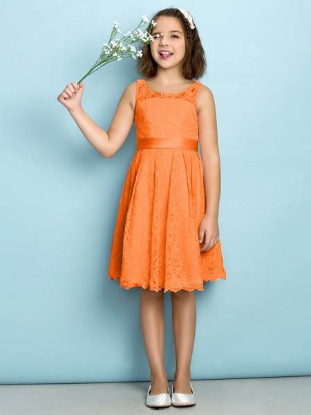 A-Line Scoop Neck Knee Length All Over Floral Lace Junior Bridesmaid Dress With Lace / Natural / Mini Me_15