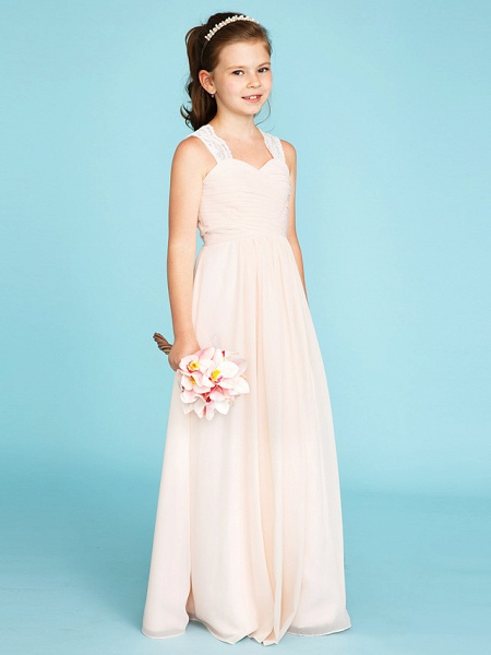 Princess / A-Line Strap Floor Length Chiffon / Lace Junior Bridesmaid Dress With Ruched / Side-Draped / Wedding Party_3