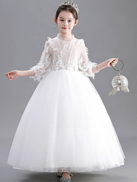 Ball Gown Floor Length Wedding / Party Flower Girl Dresses - Lace / Tulle Long Sleeve Jewel Neck With Appliques_1