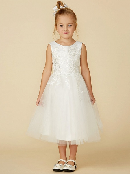 A-Line Tea Length Wedding / First Communion Flower Girl Dresses - Lace / Tulle Sleeveless Jewel Neck With Lace_4