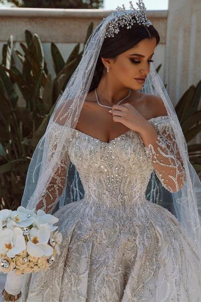 Luxurious Sequins Long Sleeve Satin Ball Gown Wedding Dress_2