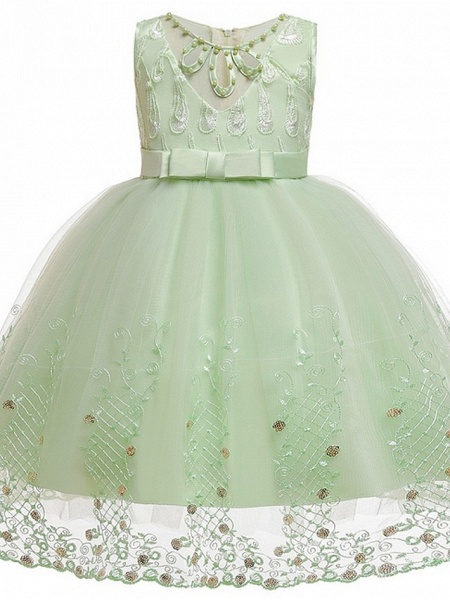 Princess / Ball Gown Knee Length Wedding / Party Flower Girl Dresses - Tulle Sleeveless Jewel Neck With Sash / Ribbon / Bow(S) / Beading_8