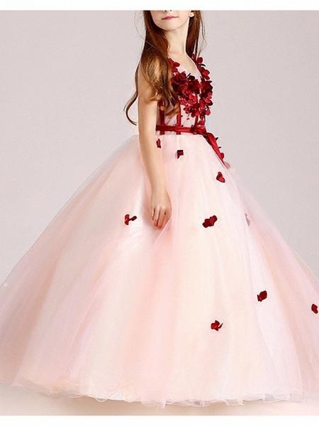Ball Gown Floor Length Pageant Flower Girl Dresses - Polyester Sleeveless V Neck With Sash / Ribbon / Beading / Appliques_3