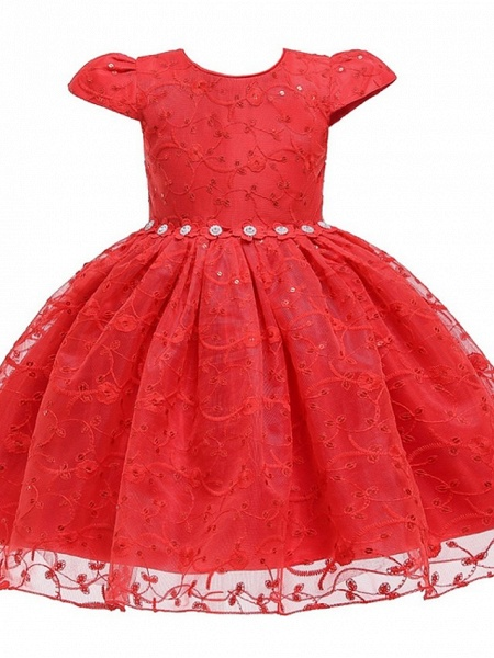 Princess / Ball Gown Knee Length Wedding / Party Flower Girl Dresses - Tulle Cap Sleeve Jewel Neck With Sash / Ribbon / Bow(S) / Embroidery_5