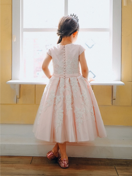 Ball Gown Tea Length Wedding / Birthday / Pageant Flower Girl Dresses - Lace / Satin Cap Sleeve Jewel Neck With Belt / Buttons / Appliques_2