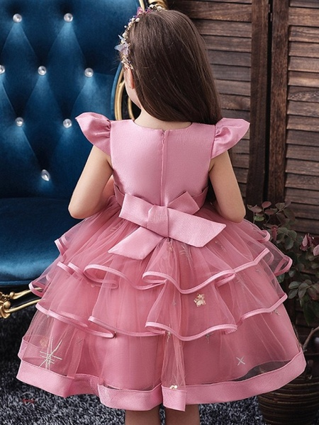 Princess / Ball Gown Knee Length Wedding / Party Flower Girl Dresses - Tulle Short Sleeve Jewel Neck With Bow(S) / Embroidery / Cascading Ruffles_9
