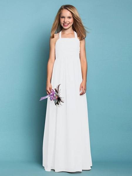 Sheath / Column Halter Neck Floor Length Chiffon Junior Bridesmaid Dress With Ruched / Spring / Summer / Fall / Apple / Hourglass_19