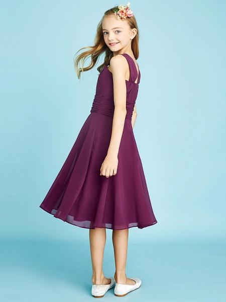 A-Line Straps Knee Length Chiffon Junior Bridesmaid Dress With Sash / Ribbon / Ruched / Draping / Natural_3