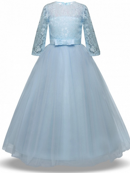 Princess Long Length Wedding / Party / Pageant Flower Girl Dresses - Lace / Tulle Half Sleeve Jewel Neck With Lace / Belt / Bow(S)_8