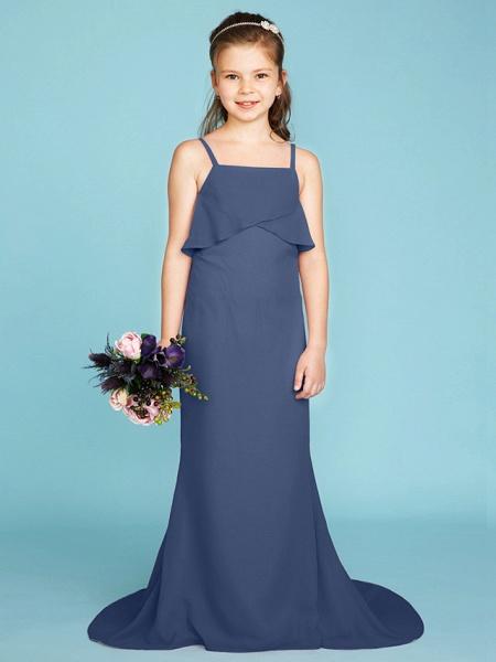 Sheath / Column Spaghetti Strap Sweep / Brush Train Chiffon Junior Bridesmaid Dress With Tiered / Wedding Party / Open Back_8