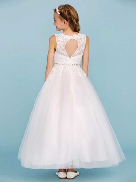 Ball Gown Crew Neck Ankle Length Lace / Tulle Junior Bridesmaid Dress With Sash / Ribbon / Beading / Appliques / Wedding Party_2