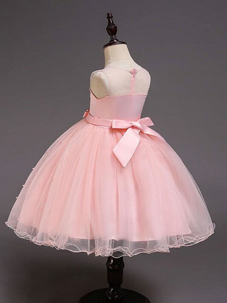 Princess Knee Length Wedding / Party / Pageant Flower Girl Dresses - Satin / Tulle / Cotton Sleeveless Jewel Neck With Belt / Crystals / Beading_14