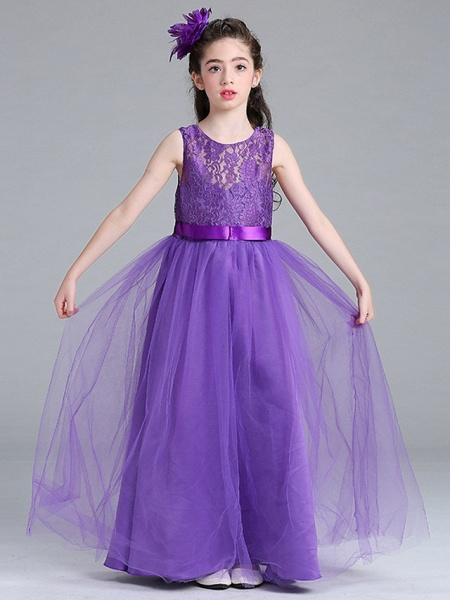 Princess / A-Line Round Floor Length Lace / Tulle Junior Bridesmaid Dress With Bow(S)_8