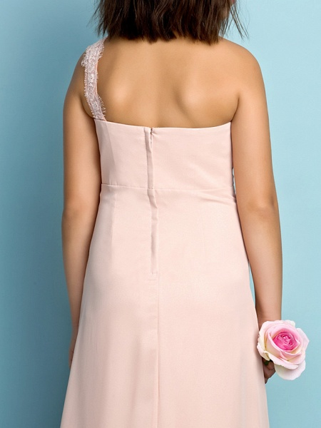 Princess One Shoulder Floor Length Chiffon Junior Bridesmaid Dress With Crystals / Side Draping / Natural / Mini Me_8