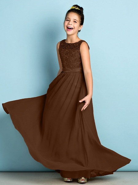 A-Line Scoop Neck Floor Length Chiffon / Lace Junior Bridesmaid Dress With Lace / Natural / Mini Me_24