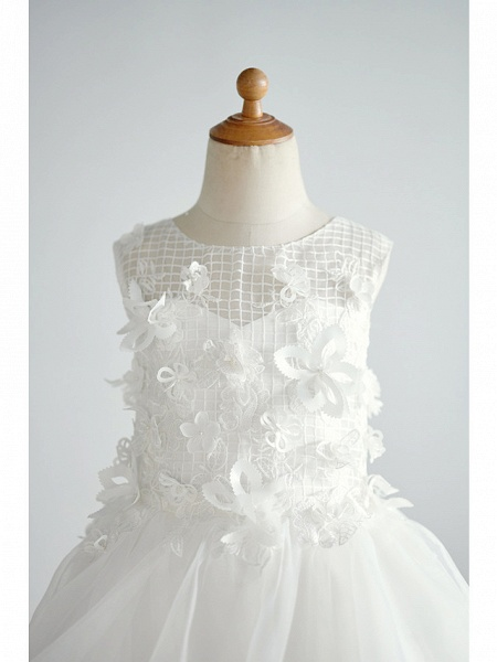 Ball Gown Knee Length Wedding / Birthday Flower Girl Dresses - Organza / Tulle Sleeveless Jewel Neck With Appliques_3