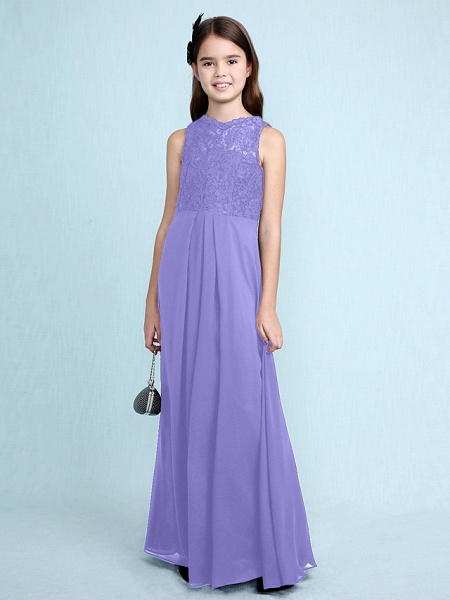 Sheath / Column Scoop Neck Floor Length Chiffon / Lace Junior Bridesmaid Dress With Lace / Natural_41