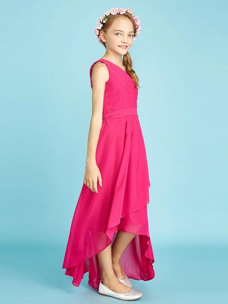 A-Line One Shoulder Asymmetrical Chiffon Junior Bridesmaid Dress With Sash / Ribbon / Bow(S) / Side Draping / Natural_3