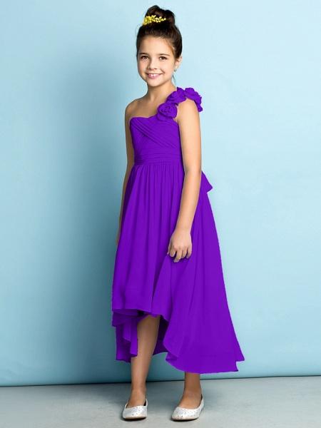 A-Line One Shoulder Asymmetrical Chiffon Junior Bridesmaid Dress With Criss Cross / Flower / Natural / Mini Me_40