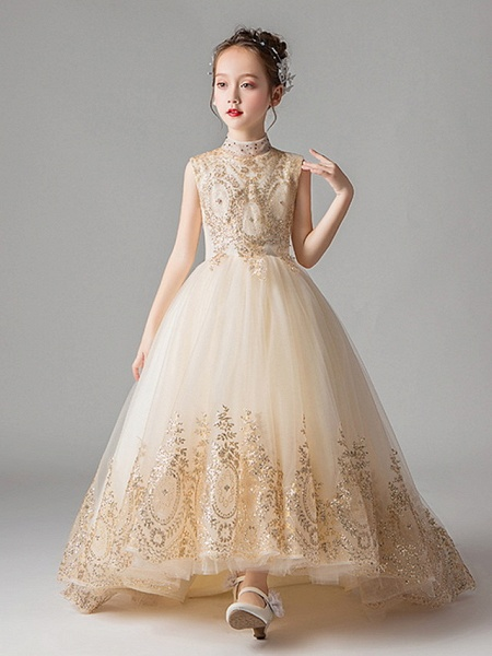 Princess Court Train Party / Pageant Flower Girl Dresses - Polyester Sleeveless Jewel Neck With Appliques_1