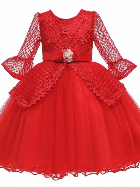 Princess / Ball Gown Knee Length Wedding / Party Flower Girl Dresses - Tulle Long Sleeve Jewel Neck With Sash / Ribbon / Bow(S) / Beading_9