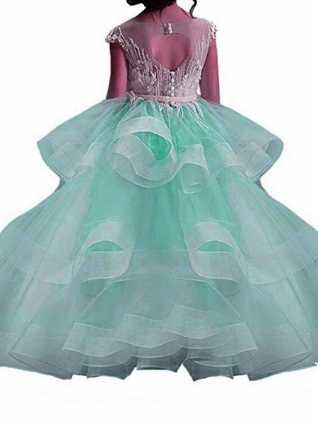 Princess Maxi Pageant Flower Girl Dresses - Polyester Sleeveless Jewel Neck With Bow(S) / Embroidery_5