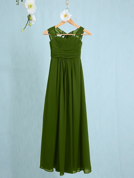 Sheath / Column Straps Ankle Length Chiffon Junior Bridesmaid Dress With Ruched / Natural_37