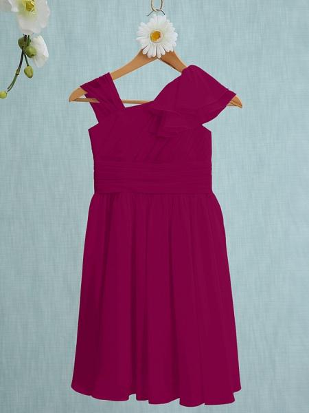 Sheath / Column Straps Knee Length Chiffon Junior Bridesmaid Dress With Ruffles / Side Draping / Natural_40