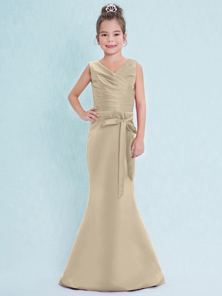 Mermaid / Trumpet V Neck Floor Length Satin Junior Bridesmaid Dress With Criss Cross / Natural_22