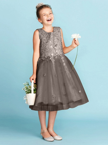 Princess / A-Line Jewel Neck Knee Length Lace / Tulle Junior Bridesmaid Dress With Bow(S) / Appliques / Wedding Party_36