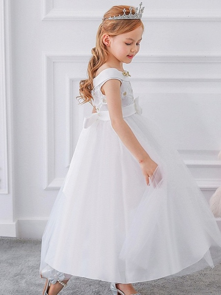 Princess / Ball Gown Floor Length Wedding / Party Flower Girl Dresses - Tulle Short Sleeve Off Shoulder With Sash / Ribbon / Bow(S) / Appliques_6