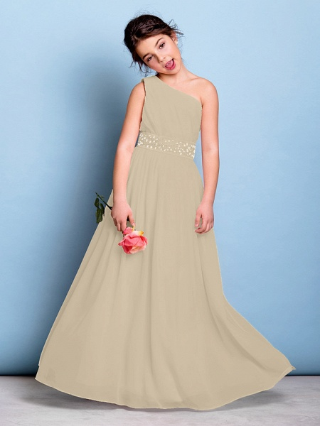 A-Line One Shoulder Floor Length Chiffon Junior Bridesmaid Dress With Sash / Ribbon / Beading / Side Draping / Natural_21