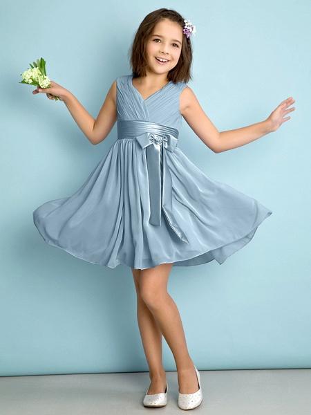 A-Line V Neck Knee Length Chiffon Junior Bridesmaid Dress With Bow(S) / Criss Cross / Natural_30