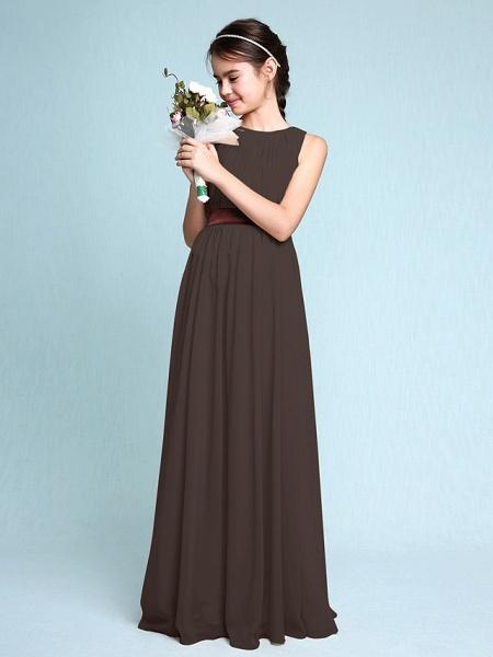 Sheath / Column Scoop Neck Floor Length Chiffon Junior Bridesmaid Dress With Draping / Natural_25