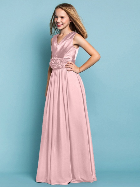 Sheath / Column V Neck Floor Length Chiffon Junior Bridesmaid Dress With Flower / Spring / Summer / Fall / Apple / Hourglass_20