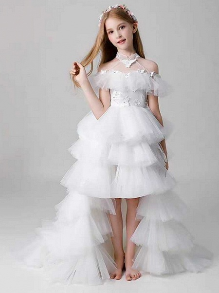 Sheath / Column Sweep / Brush Train Party / Birthday Flower Girl Dresses - Poly Sleeveless Off Shoulder With Lace / Tier_2